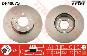 TRW Brake Rotor Front DF4807S fits BMW 3 Series 318 i (E90) 95kw, 320 d (E90)...