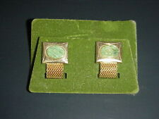 Vintage Green Jade Men's Cufflinks Cuff Links Gold Tone Mesh