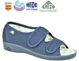 LADIES NAVY EXTRA WIDE EEE FIT CASUAL SANDALS TOUCH FASTENING WASHABLE SIZE 3- 8