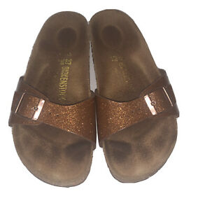 Birkenstock Madrid Birko-Flor Sandals Sz 37 or 6-6.5 Glitter Bronze FLAW