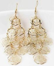 New gorgeous statement Light long yellow glod filled ear stud Earrings 484