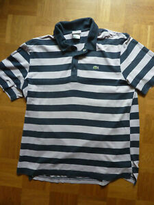 Lacoste Herrenpoloshirt, Gr. 6, blau/hellrosa gestreift
