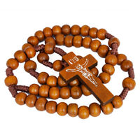 Wooden beads Rosary with Christian Cross Crucifix from Jerusalem Holy Land 21''