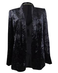 DKNY Women's Petite Velvet Open-Front Blazer Size 14P Black MSRP $139 NEW
