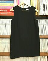 PAULE KA 42 14 Dress Black Boxy Shift A-line Cotton 60s Minimalist Pockets US 10