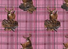 Fabric Pink Plaid with Deer
