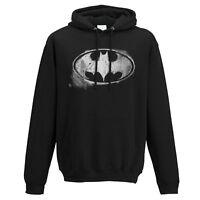 Official Batman Logo Hoodie Pullover Hooded Mono Distressed DC Comics S M L XL