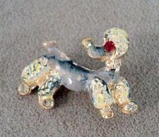 Vintage Handpainted Poodle Dog Brooch Red Rhinestone Eye - Estate Find