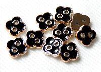 LOT 6 PETITS BOUTONS NOIR DORE FLEURS TREFLE SCRAPBOOKING SCRAP COUTURE 10mm