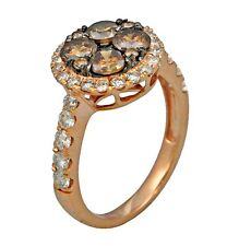 2.21ct Prong Invisible Set White & Dark brown Diamond Ring in 14K Rose Gold