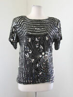 Vtg 90s Black Silver Silk Beaded Sequin Floral Evening Party Blouse Size S