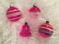 Vintage Shiny Brite Christmas Ornament LOT Unsilvered Glass Dark Pink Bell Bulb