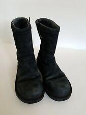 Women's Uggs Mid-calf Zip Up Black Suede Boots Size 7