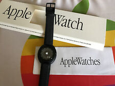 NEW BOXED w/ PAPERS! RARE APPLE COMPUTER INC BLACK APPLE TIME WHITE LOGO WATCH