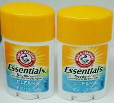 2 Arm & Hammer ESSENTIALS Deodorant With Natural Deodorizers CLEAN 1.0 oz 28g ea