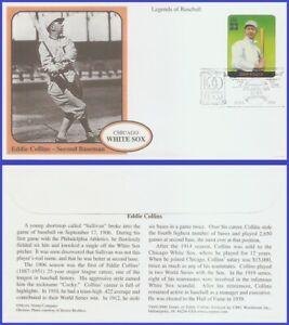 USA5 #3408b U/A MYSTIC FDC Legends of Baseball Eddie Collins