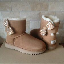 UGG MINI BAILEY BOW BRILLIANT BLING PEARL CHESTNUT SUEDE BOOTS SIZE US 8 WOMENS
