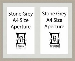 Handmade Stone Grey Picture Frame With Double Aperture Mount - For 2 A4 Image...