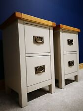 Matching Pair Grey Painted Oak Bedside Cabinets - Set of 2 Nightstand Tables