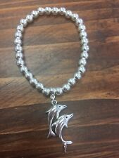 Dolphin Beaded Silver Charm Stretch Bracelet Boho Bangle Jewellery