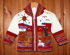 Strickjacke weiß+rot, Gr. 80*86, Kapuze, Applikationen Tiere, Peru Sonne Alpaka
