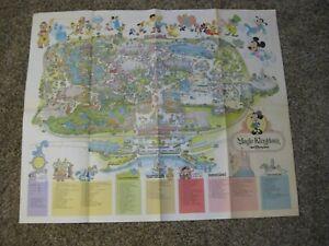 DISNEY WORLD FLORIDA 1979 38 X 31 HUGE MAP MAGIC KINGDOM MICKEY MOUSE COLOR USA
