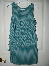 DKNY girls Turquoise Gray Stripe Ruffled McKenna DRESS* L Large