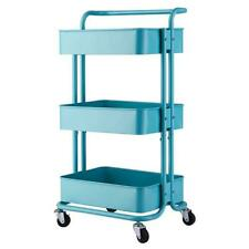 3 Tier Home Kitchen Storage Utility Cart With Handle Turquoise