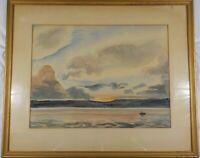Vintage Original 1950 Watercolor Dawn Fisherman by Carl Buck Listed