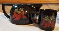 1996 Artist Signed Janice Brown Ceramic Teapot Black & Red Chili Peppers One Cup