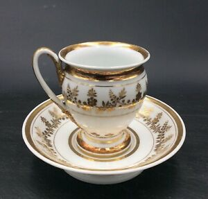 Cup And Saucer Porcelain from Paris Empire Decor Foliage Gold 19th