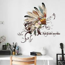 Hot Dream Feathers Hat Wall Sticker DIY House Decor  Feather Art Decal