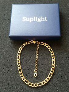 Suplight 18KGP Figaro Chain Anklet BNIB