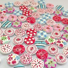 100Pcs 2 Holes Mixed Flower Print Round Pattern Wood Buttons Scrapbooking sale