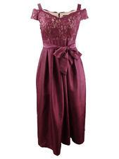 R&M Richards Women's Lace Cold-Shoulder Gown (14, Merlot/Nude)