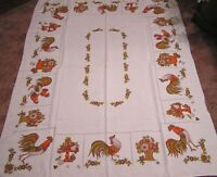 Vintage Tablecloth Roosters Flower Baskets Fruit Compotes Brown Olive Orange