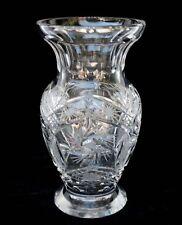 "Vintage Crystal Cut Glass PINWHEEL DESIGN 8 Point STAR 7.5"" VASE"