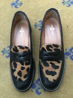 Car Shoe by Prada Womens Black Leopard Loafer UK 6 US 8 EU 39 Drivers Ladies Men