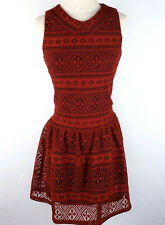 Betsey Johnson Dress Women 8 Knit Lace Red Skater Fit Flare Flounce Knee Holiday
