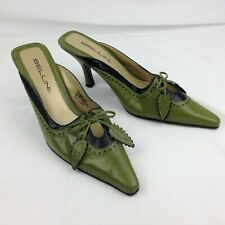 BELLINI Green Leather Slip On Heels Pointed Toe Women's Size 8 M Leaf Bow Accent