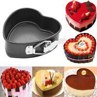 DIY Heart-Shaped Cake Tin Non Stick Spring Form Loose Base Baking Pan Tray NE8Z
