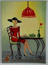 oil painting,original.  lady in red dress at a table drinking coffee.