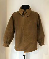 Vintage Worn French Farmer Hunter Jacket Brown Duck Cotton Chore Workwear Old