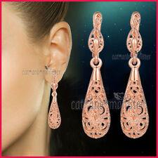 9K ROSE GOLD GF handmade filigree antique SOLID LADIES DRESS HOOP EARRINGS GIFT