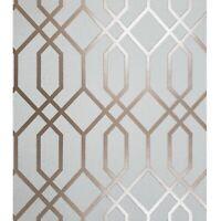 Wallpaper white rose gold metallic textured roll geometric trellis lines quartz