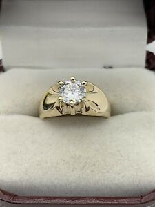 10k Yellow Gold 1ct Round Moissanite Solitaire Engagement Ring Size 5 Pinky