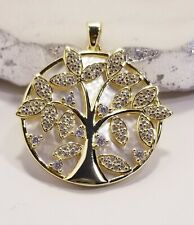 925 GOLD VERMEIL, CZ &  MOTHER OF PEARL & TREE OF LIFE PENDANT