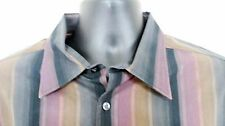Perry Ellis XXL Business/Casual Multicolor Stripes Long Sleeve 100% Cotton   F39