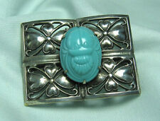 """Silverplate Pin w Turquoise Colored Glass Scarab 2"""" x 1 1/2"""""""