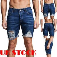 Summer Men's Ripped Denim Shorts Elastic Jeans Cargo Distressed Half Pants UK